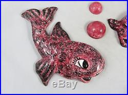 Vintage Fish Couple with Bubbles Wall Plaques Ceramic Mermaid