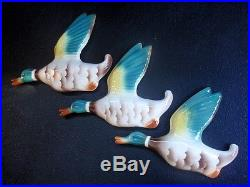 Vintage Flying Ducks Wall Plaques Set of 3 Keele St Pottery England
