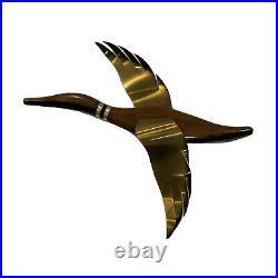 Vintage Flying Geese Ducks Wall Art Mid Century Modern Wood Brass