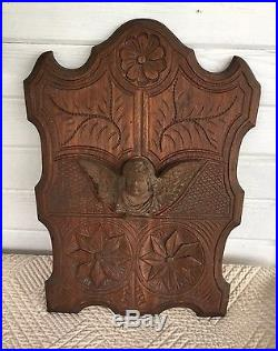 Vintage Folk Art Wooden Carved Wall Plaque With Cherub