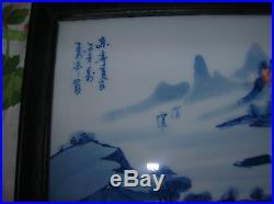 Vintage Framed Japanese Porcelain Wall Plaques Signed