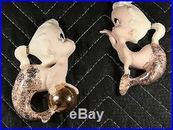 Vintage Freeman McFarlin Baby Mermaid And Fish Wall Plaque Hanging Rarest Ones