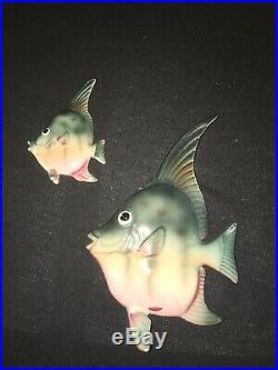 Vintage Freeman Mcfarlin Mermaid Norcrest Angel Fish Wall Plaque Pocket Ceramic