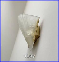 Vintage French Art Deco Brass Frosted Glass Wall Sconces Pair
