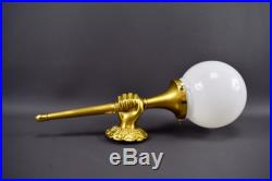 Vintage French Brass and Bronze Hand Torch Wall Sconces Holding Glass Lamp Shade