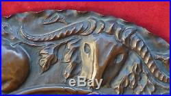 Vintage French Copper Embossed High Relief Hunting Dog Wall Plaque In Wood Frame