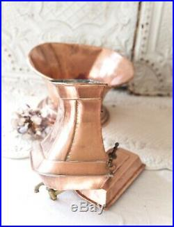 Vintage French Copper and Brass Wall Hanging Fountain and Basin French Chateau