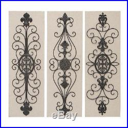 Vintage French Inspired Metal Wood Scroll Wall Sculpture Panel Plaque Set of 3