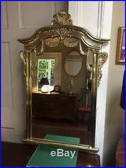 Vintage French Wall Mirror Solid Brass