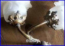 Vintage French Wall lights Brass/gilt finish