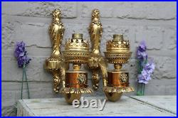 Vintage French brass lion heads chains Wall lights sconces 1970