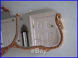 Vintage GESSO SOFA Mantle LONG WALL MIRROR Etched Bouchard Style Wall Plaque