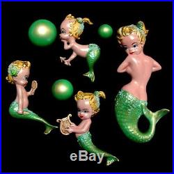 Vintage GReEn SUNtaN Mermaid Mom & Baby Wall Plaque Hanging Set w Shells