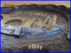 Vintage German Heidelberg Carved Wooden Resin 3D Wall Plate Plaque 1983 sign SIC