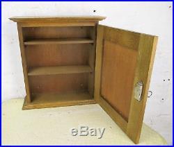 Vintage German Oak Kitchen Apothecary Wall Cabinet Brass Plaque Hausapotheke