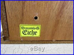 Vintage German Oak Kitchen Apothecary Wall Cabinet Brass Plaque Hausapotheke