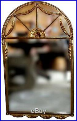 Vintage Gilt Louis XVI Swagged Wall Statement Mirror