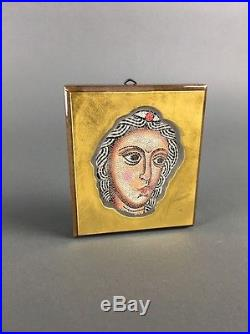 Vintage Glass on Wood Plaque Micro Mosaic Portrait Wall Art