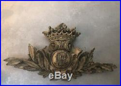 Vintage Gold Ornate Wall Hanging Plaque, 28 Wide, Great over Picture, Bed Crown