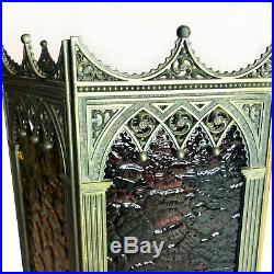 Vintage Gothic Revival Victorian Tri Color Stainted Glass Brass Wall Sconce