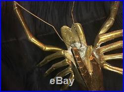 Vintage HUGE Brass Lobster Wall Hanging Decor 21 Long Over 5lbs! Doorstop RARE