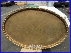Vintage HUGE XL Large Oval Brass Tray/Platter/Wall Art/Table top 54x35 India