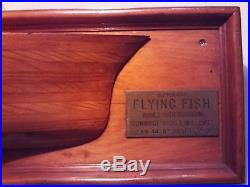 Vintage Half Hull Mounted Wall Plaque Nautical 1851 Flying Fish Engraved Brass