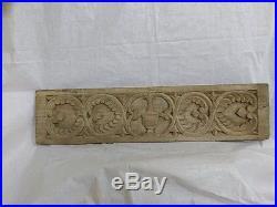 Vintage Hand Floral Carved Wall Hanging Wooden Panel Antique Art Decor Plaque