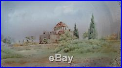 Vintage Hand Painted Wall Plaque Daphni Monastery Greece by A. Peters c. 1953