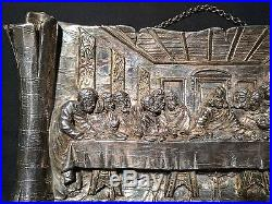 Vintage Heavy Sterling Silver. 925 Last Supper Wall Plaque Jerusalem Icon