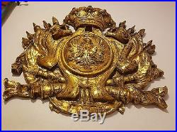 Vintage High Relief Crest Coat of Arms Wall Plaque Imperial Crown Over Eagle