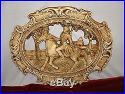 Vintage Hollywood Regency Chalkware Wall Art Plaque 1700's Man & Horse Gold RARE