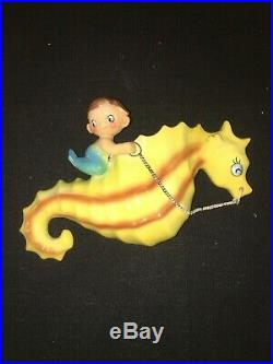 Vintage Holt Howard Moby Mermaid Seahorse Planter Wall Pocket Plaque Retro Fish