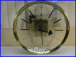 Vintage Howard Miller AJK Lucite & Brass Pendulum Wall Clock George Nelson