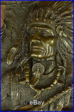 Vintage Indian Chief Original Heavy Bronze Metal Wall Hanging Sign Plaque Figure