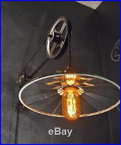 Vintage Industrial Pulley Light Wall Sconce Lamp Steampunk Drafting Pool Table