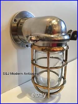 Vintage Industrial Wall Light Brass Silver Aluminium Bulkhead Nautical Ship Lamp