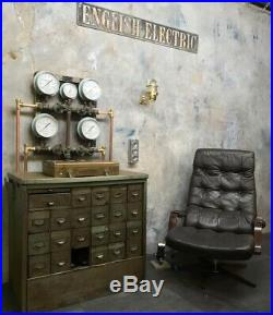 Vintage Industrial Wall Light Cast Brass, Glass Dome & Cage with Edison Bulb