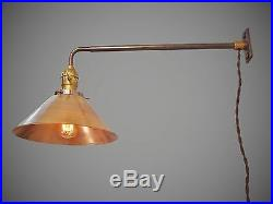 Vintage Industrial Wall Mount Light BRASS SHADE Machine Age Cage Lamp Sconce