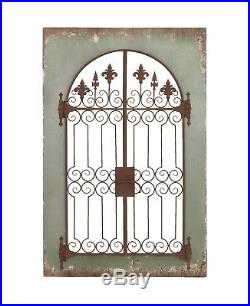 Vintage Iron Scroll Work Wood Wall Decor Weathered Green Door Window Gate Plaque