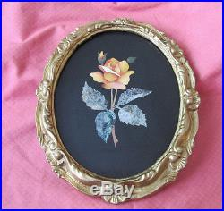 Vintage Italian Pietra Dura Orange Rose Flower Wall Plaque Ornate Gold Frame