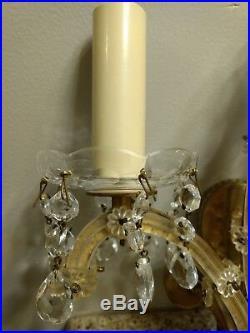 Vintage Italian Venetian Murano Glass Wall & Brass Wall Sconces Pair Set Neat