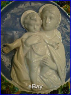 Vintage Italy Della Robbia By Cantagalli Majolica Wall Plaque Madonna & Child