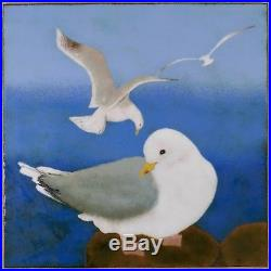 Vintage JEAN DRUMM Enamel On Copper Seagull Bird Wall Plaque California Ocean