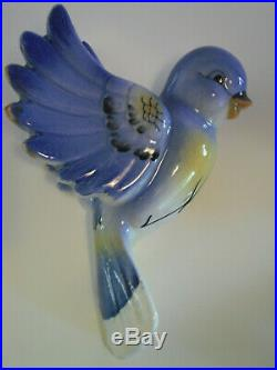 Vintage Japan Blue Bird And Babies Wall Plaques Lefton