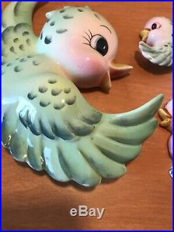 Vintage Japan Green Mother Bird And Babies Wall Plaques Lefton
