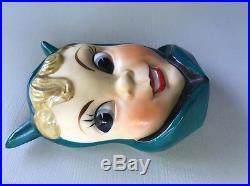 Vintage Japan Pixie Wall Pocket Plaque Ceramic Dark Green She Devil Head Vase