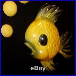 Vintage LARGE Ceramicraft Yellow Fish Wall Plaque Hanging g/w mermaid bath decor