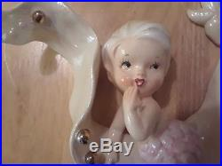 Vintage LEFTON Ceramic Mermaid on Seaweed Wall Plaque Figurine