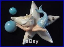 Vintage LEFTON Ceramic Mermaid on Starfish Wall Plaque Figurine